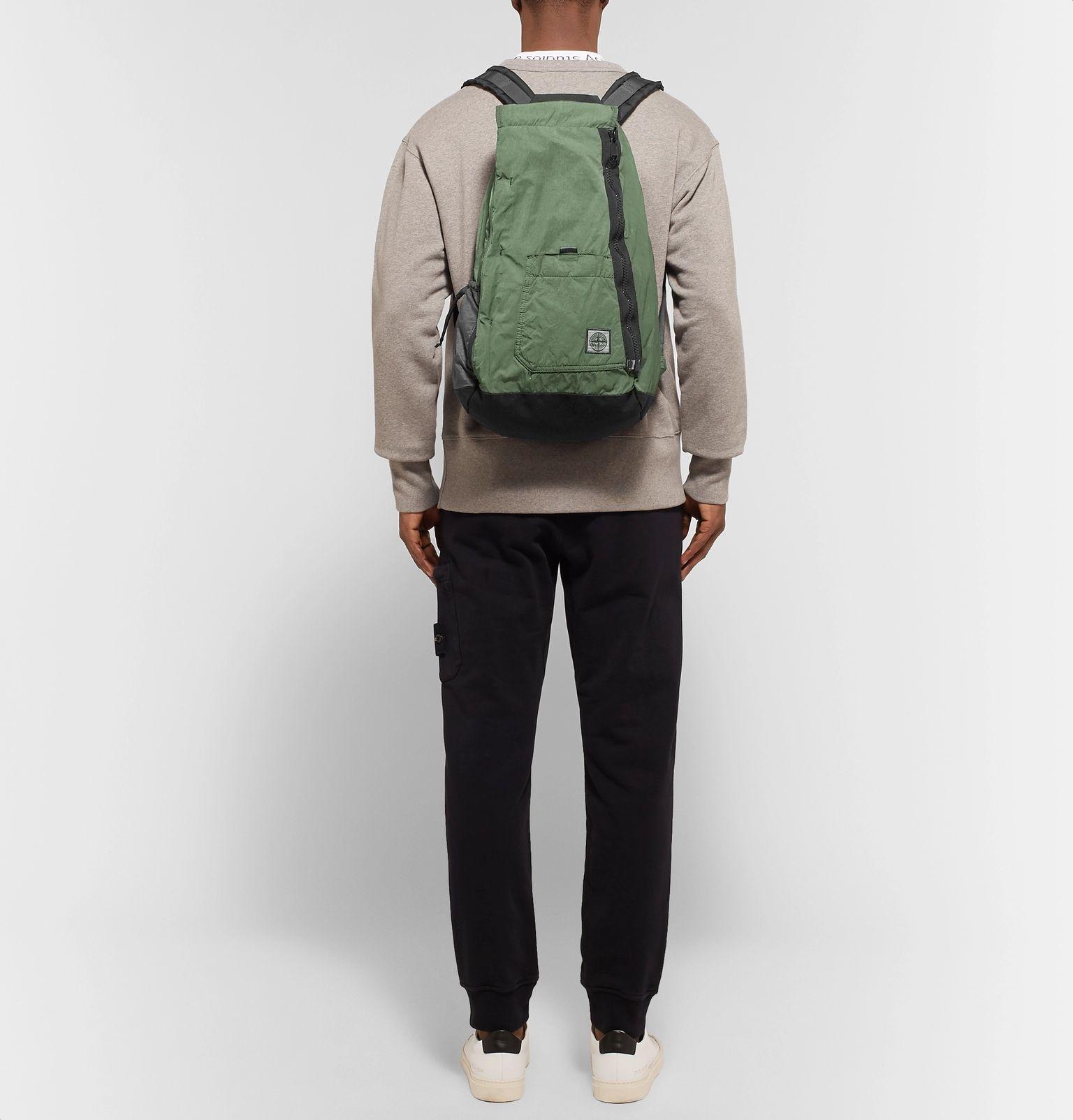 Logo-Appliquéd Nylon and Canvas Backpack