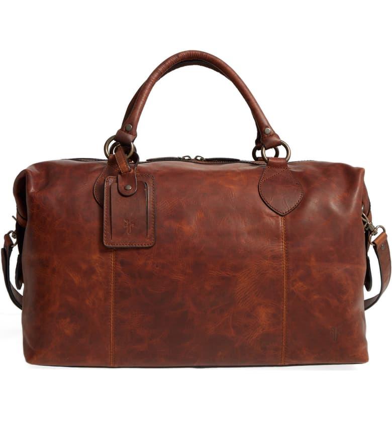 'Logan' Leather Overnight Bag, Main, color, COGNAC