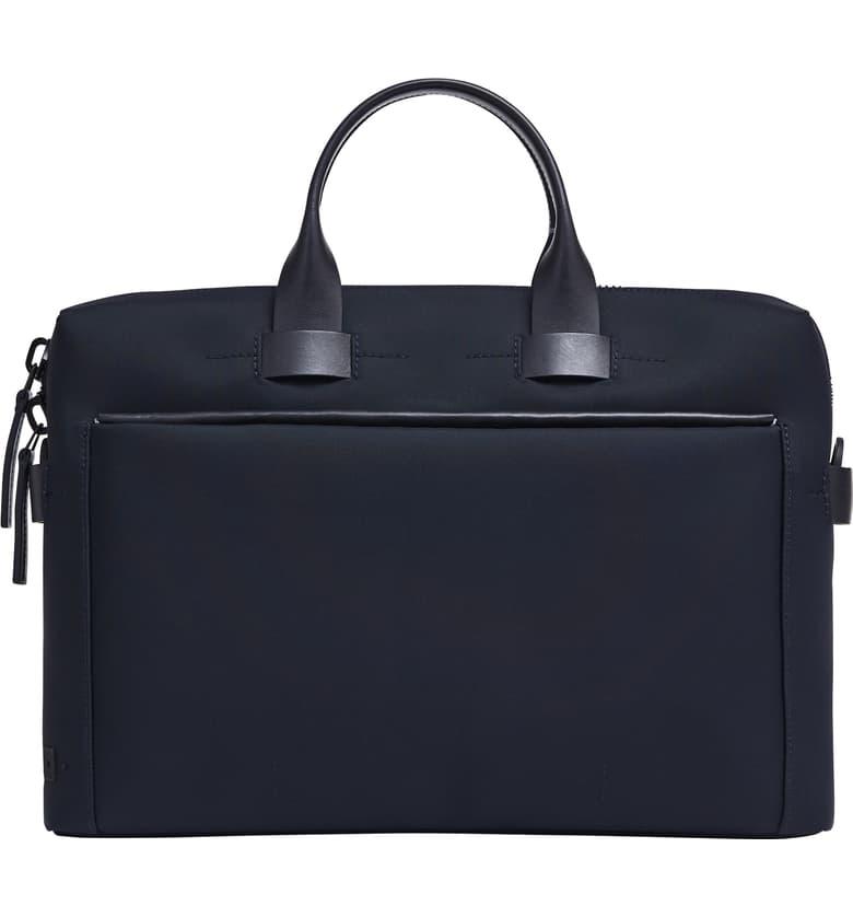 Slim Briefcase, Main, color, NAVY NYLON/ NAVY LEATHER