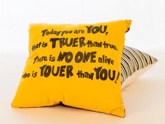 Dr. Seuss tribute quote pillow
