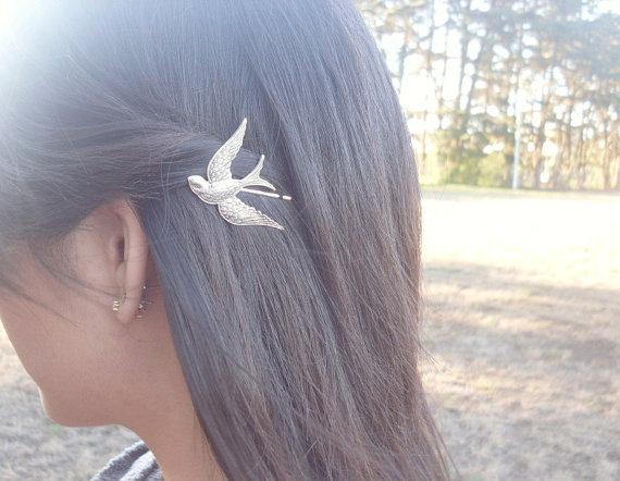 Bird Bobby Pin - Silver Spa...
