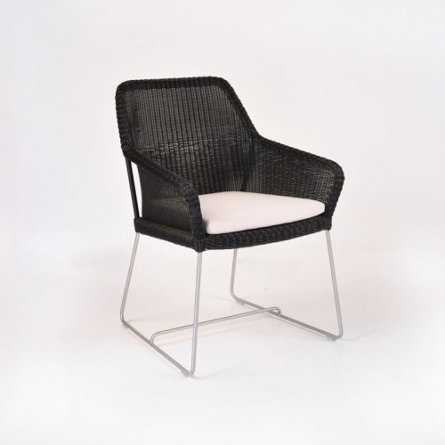 Wicker Dining Chair with Cu...