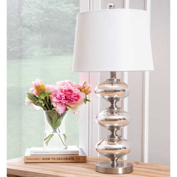 Grenada Silver Disc 25-inch Table Lamp