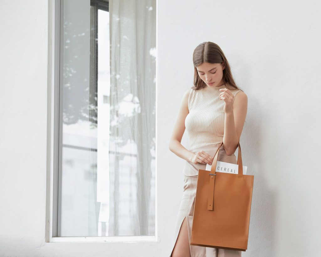 Brown leather tote bag For ...