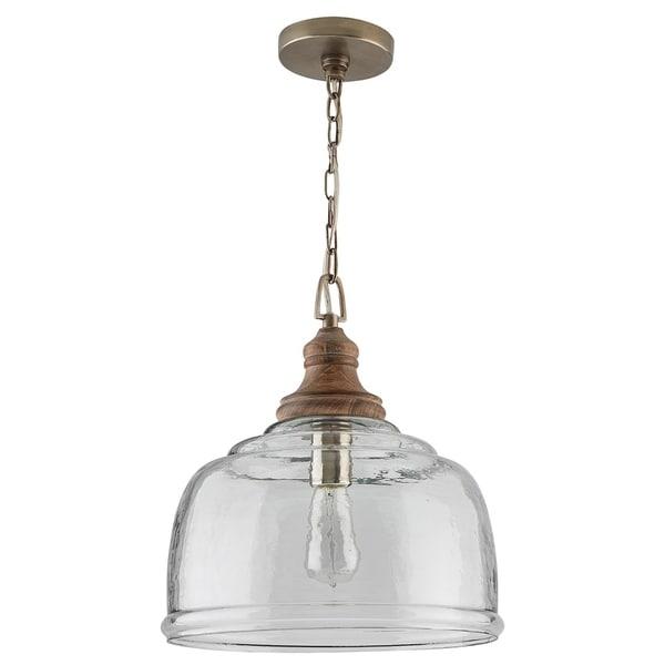 1-light Grey Wash Wood/Clear Organic Rippled Glass Pendant