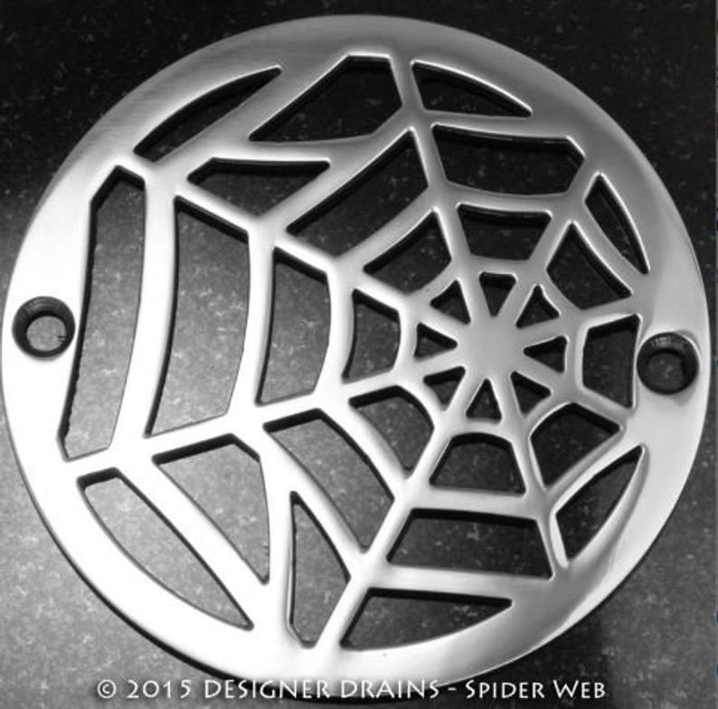 """Spider Web   3.25 Round Shower Drain  Designer Drains PLSH NICKEL (3.25"""")"""