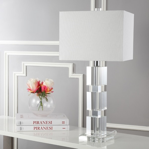 """Lighting 28-inch Palace Crystal Stacked Cube Table Lamp - 13""""x13""""x28"""""""