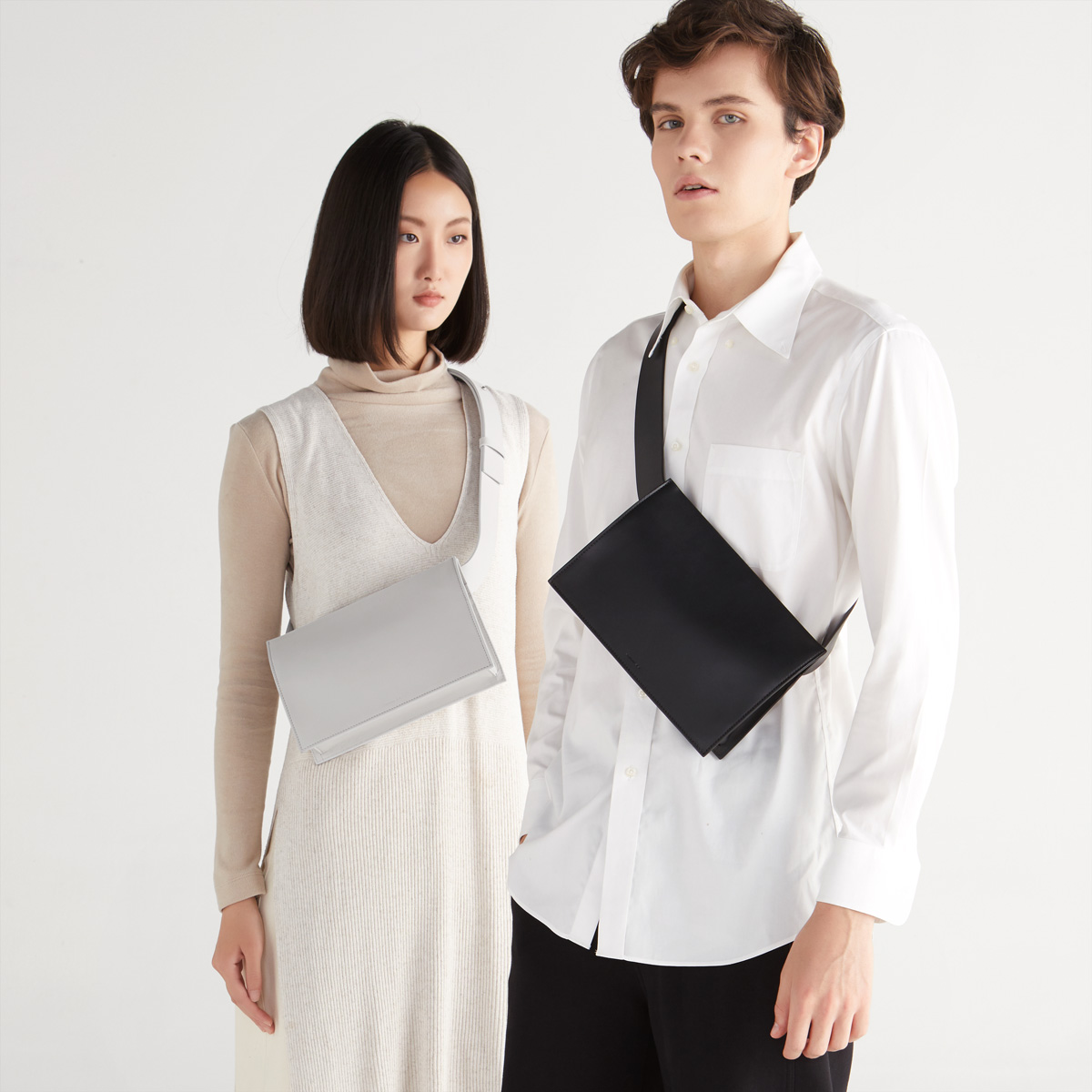 Unisex Black Leather Sling Bag