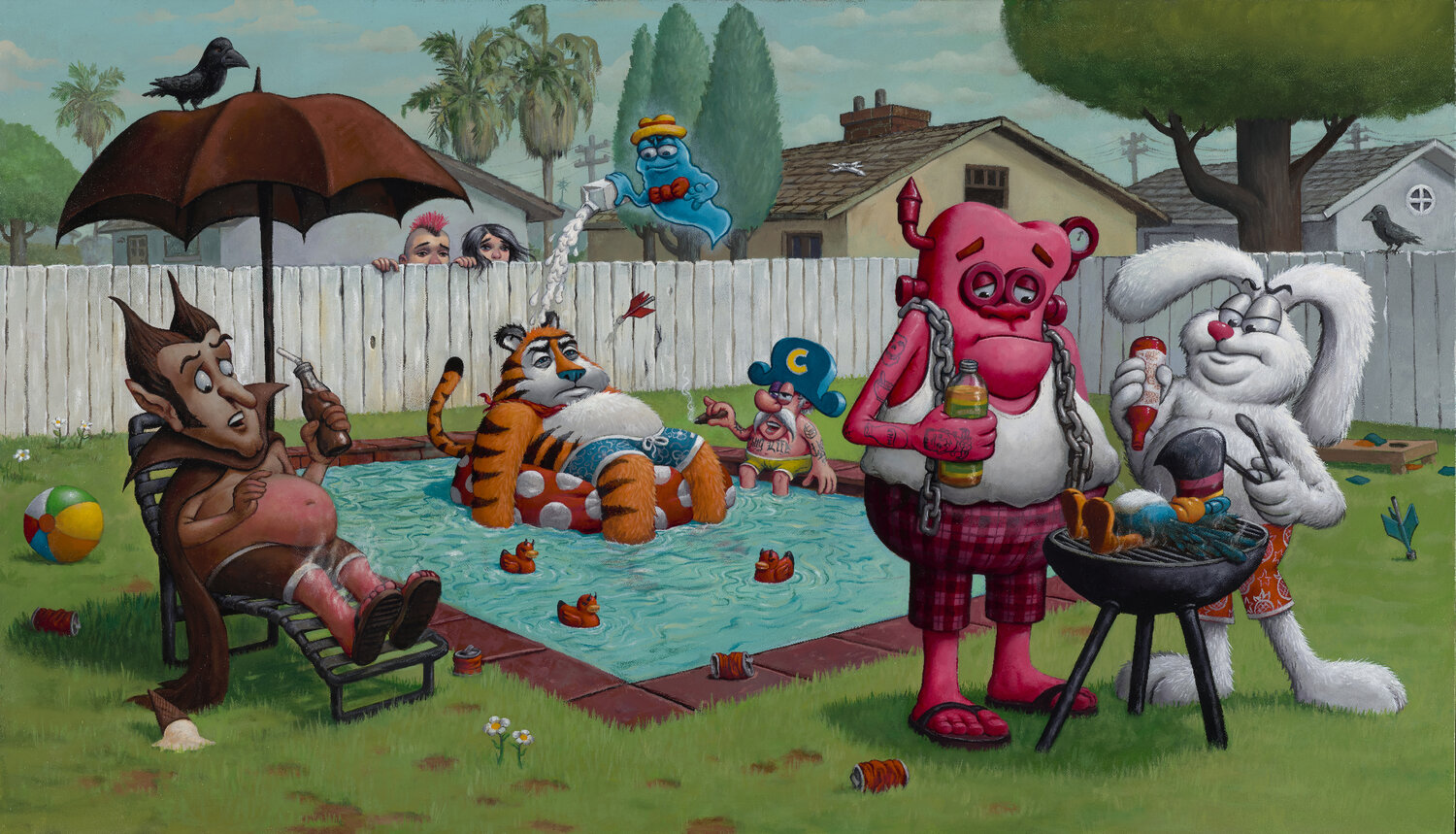 Sweet Day Poolside - Limited Edition Print by Bob Dob