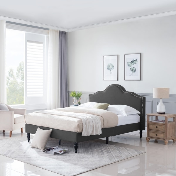 Fulton Contemporary Queen Sized Fabric Upholstered Bed Frame by Christopher Knight Home