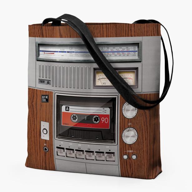 Cassette Deck and Speaker Wood - Tote Bag