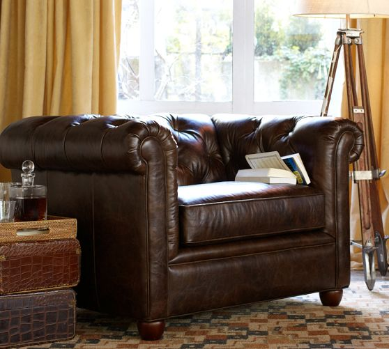 Chesterfield Leather Armcha...