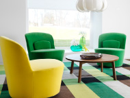 Swivel easy chairs in green...