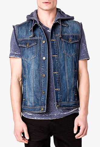 heathered hood denim vest forever 21 men shoplinkz clothes i ll