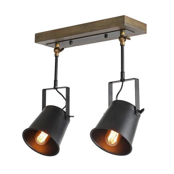 2 light industrial wood metal track ceiling light