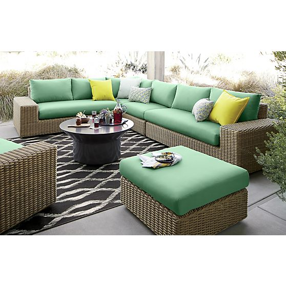 Newport 3 Piece Loveseat Sectional With Sunbrella® Bottle Green Cushions In  Outdoor Sectionals | Crate And Barrel