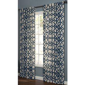 Allen Roth Oberlin 95 In L Geometric Navy Back Tab Window Curtain Panel