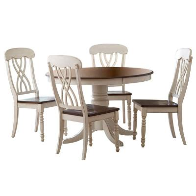 HomeSullivan 5-Piece Round Antique White and Warm Cherry Dining Table Set-401393W-48[5PC] at The Home Depot