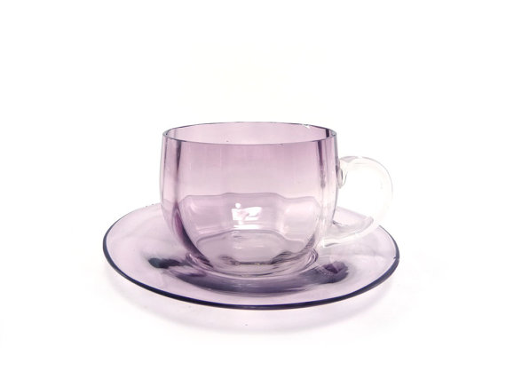Amethyst cup and saucer - v...