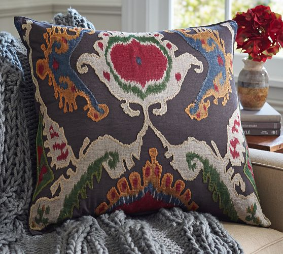 Mercer Ikat Applique Pillow Cover Pottery Barn