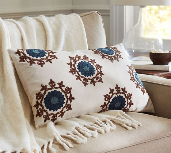mini embroidered suzani lumbar pillow cover pottery barn - Pottery Barn Pillow Covers