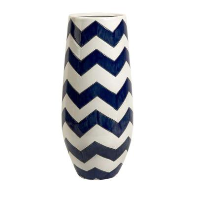 Home Decorators Collection Chrevron Navy/White Tall Vase-1951400320 at The Home Depot