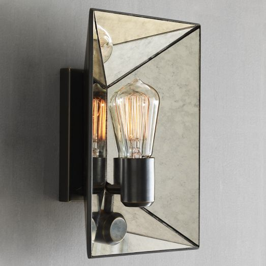 Faceted Mirror Sconce | Wes...