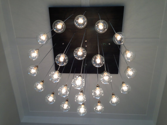 Large Custom Industrial Chandelier with Modern Glass Pendants - Oversize Square