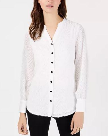 Alfani Fringed Split-Neckline Shirt Size Medium.