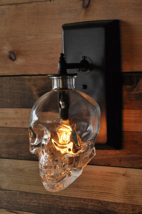 Skull Wall Sconce - Crystal...