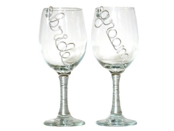 Wedding Wine Glasses, Bride...