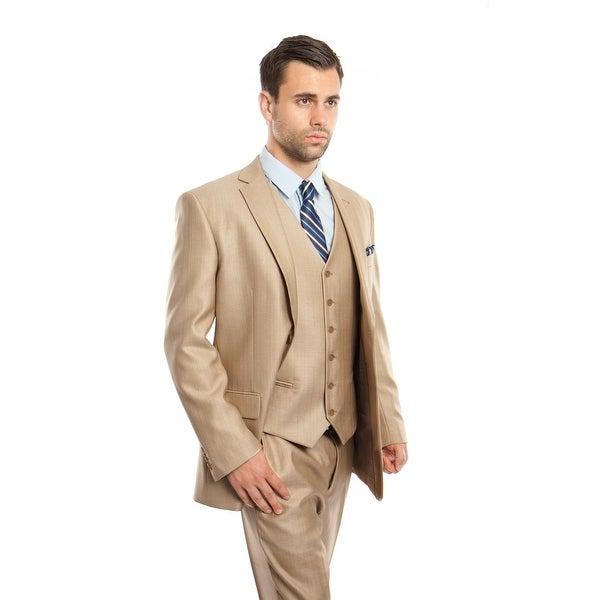 Men Suit Stone Color Solid Texture 3 Pieces Classic Fit Mens Suits. Opens flyout.