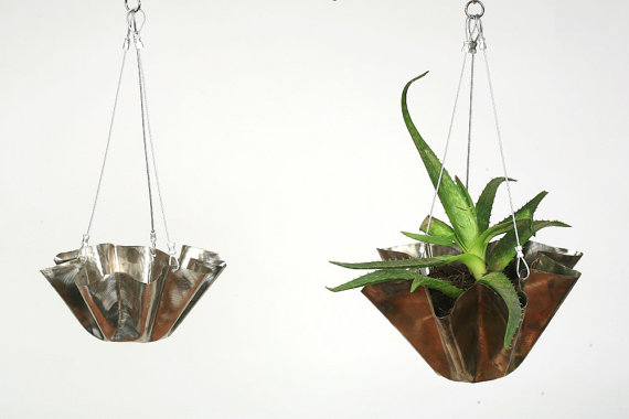 Large Stainless Steel Hanging Flower Pot-Eco friendly decorations for your home or garden.