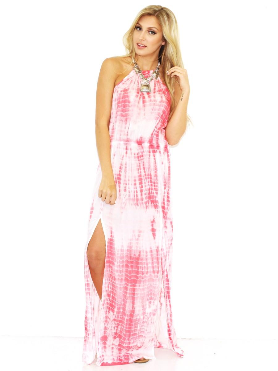 Elan Maxi Halter Dress with...