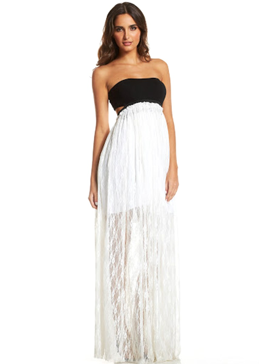 Elan Bandeau Maxi Dress wit...