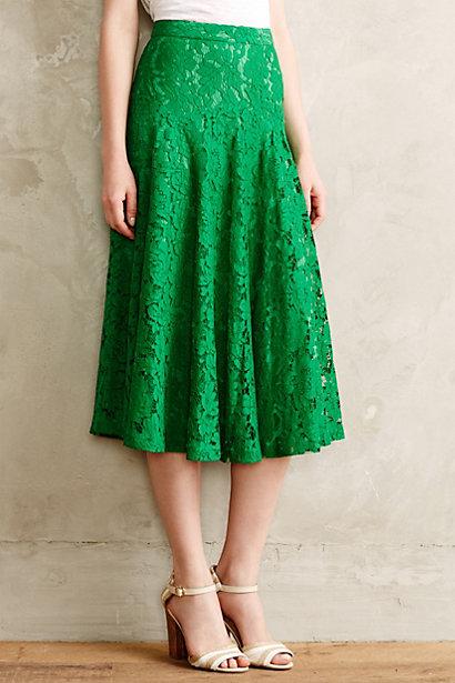 Grass-Lace Midi Skirt - ant...