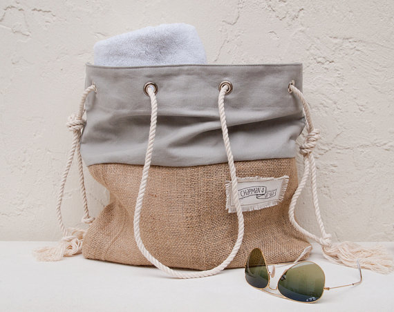 Gray Canvas Tote Large Beac...