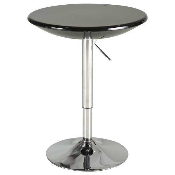 Round Cocktail Bar Table Metal Base Tall Bistro Pub Desk Adjustable Counter Height Black Silver. Opens flyout.