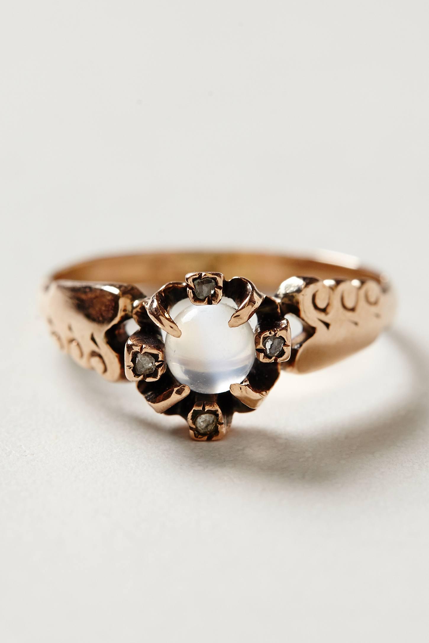 Vintage Moonstone Diamond Ring - anthropologie.com