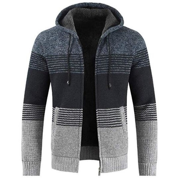 Men's Hooded Sweaters Jacket Heavyweight Full Zip Strips Patchwork Hoodies With Pockets 4 Colors. Opens flyout.