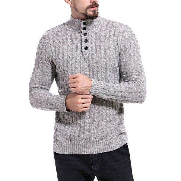 Men's Sweater Fashion Slim Fit Pullover Casual Warm Knitted Sweater. Opens flyout.