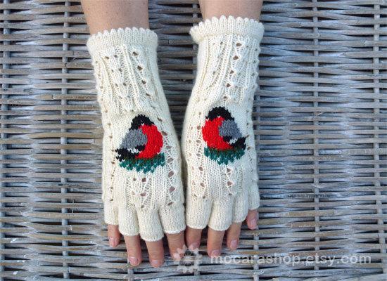 Fingerless Gloves, Soft, Wh...