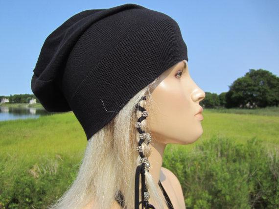 Black Slouchy Beanie Hat Bl...