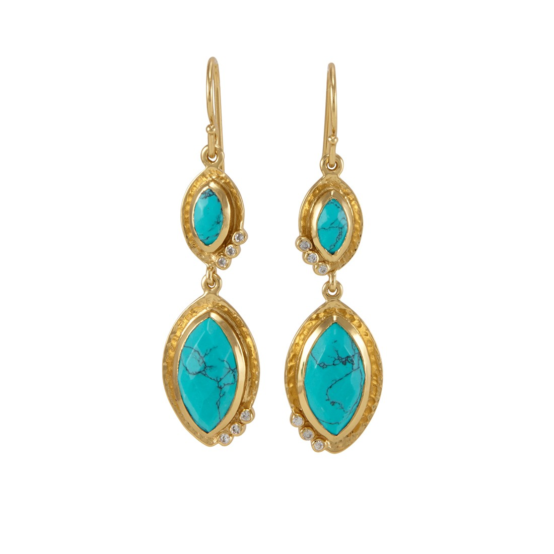 Serena Earrings Gold Turquo...