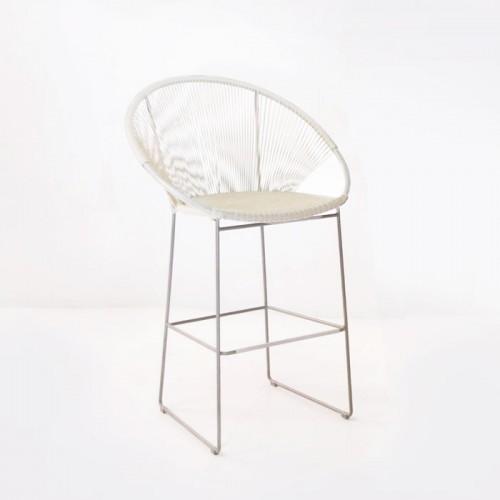 white outdoor bar stool