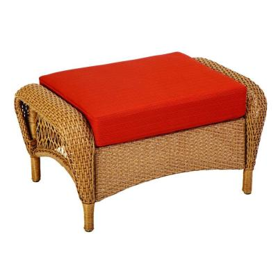 Martha Stewart Living Charlottetown Natural All Weather Wicker Patio  Ottoman With Quarry Red Cushion 65 909556/2 At The Home Depot