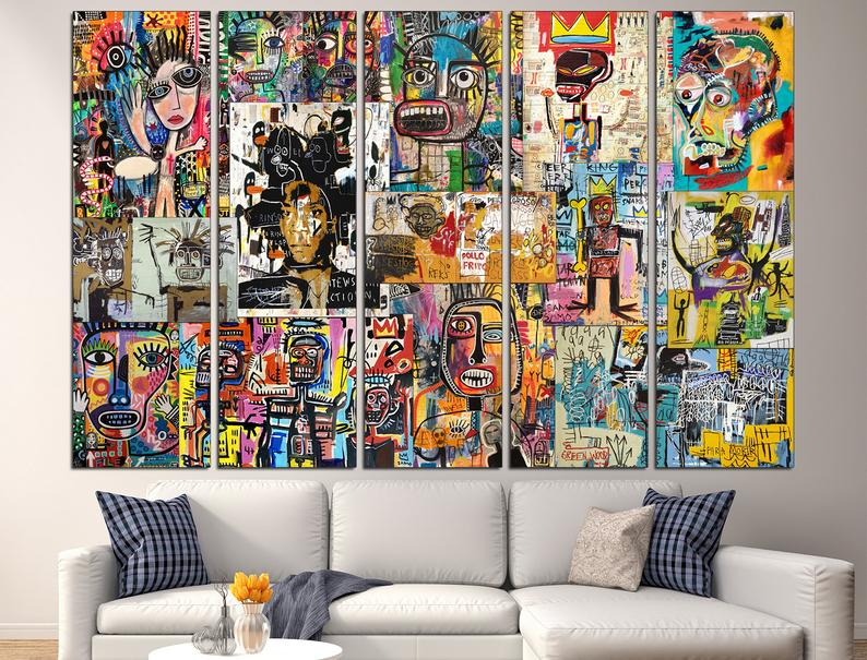 Basquiat canvas Collage print Basquiat wall art Collage wall 5 Panel
