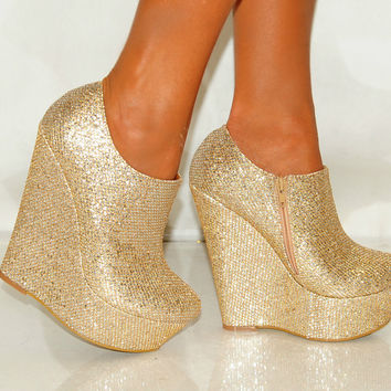 Women Silver Platform Glitter Sparkly High Wedges Shoes Heels Ankle Boots  Gold 7c44bf16a3