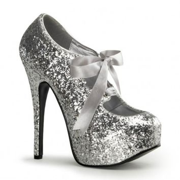 Silver Glitter Bow Front Ho...