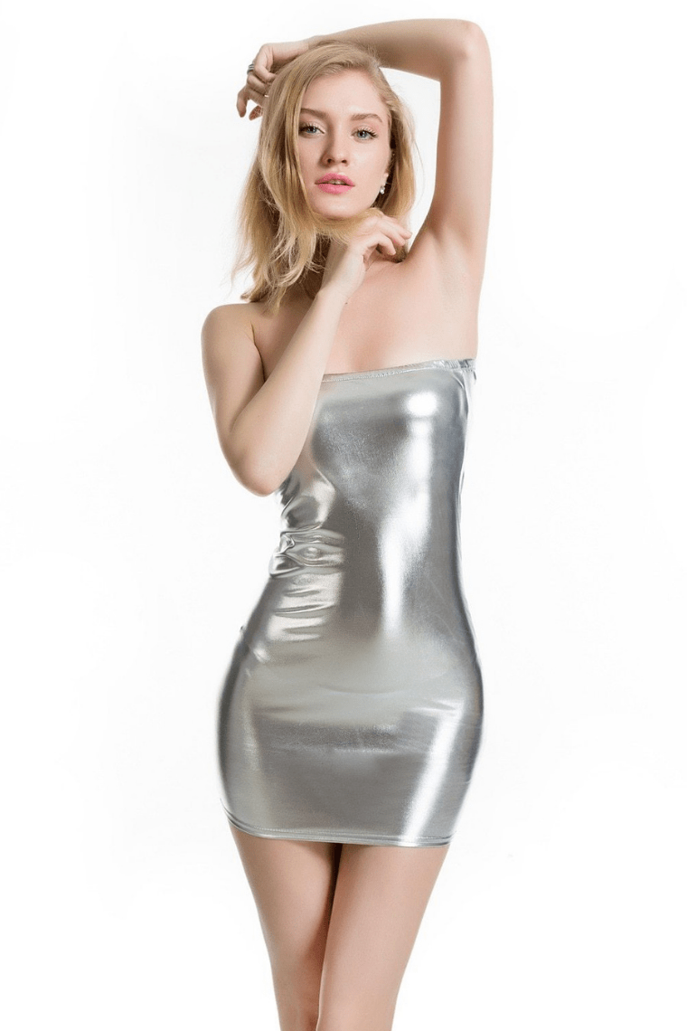 Dropping Hints Dress Silver
